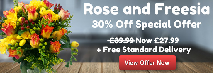 Save 30% on Rose and Freesia Flowers