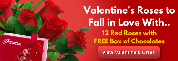 Valentines Roses with Free Chocolates
