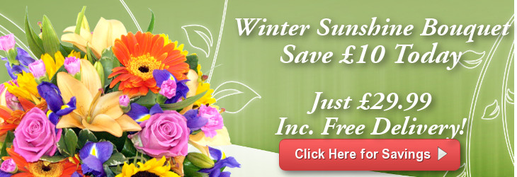 Save £10 on our Winter Sunshine Bouquet