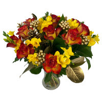 Festive Freesia & Rose Celebration