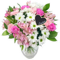 Precious Pink and White Bouquet with Personalised Name Pick