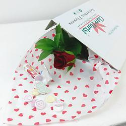 Single Red Rose with Free Sweets