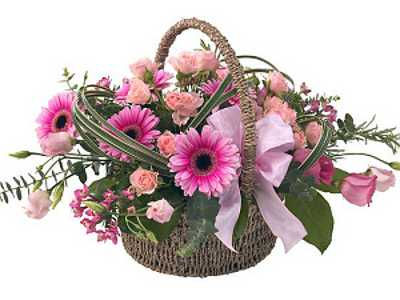 next day delivery on our tickled pink flower basket